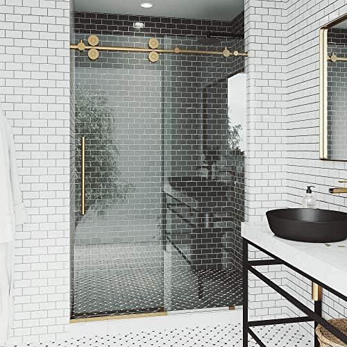 VIGO Elan - Puerta de ducha corredera sin marco con vidrio transparente y herrajes cromados de 1,52 m a 152,4 cm: Amazon.es: Bricolaje y herramientas