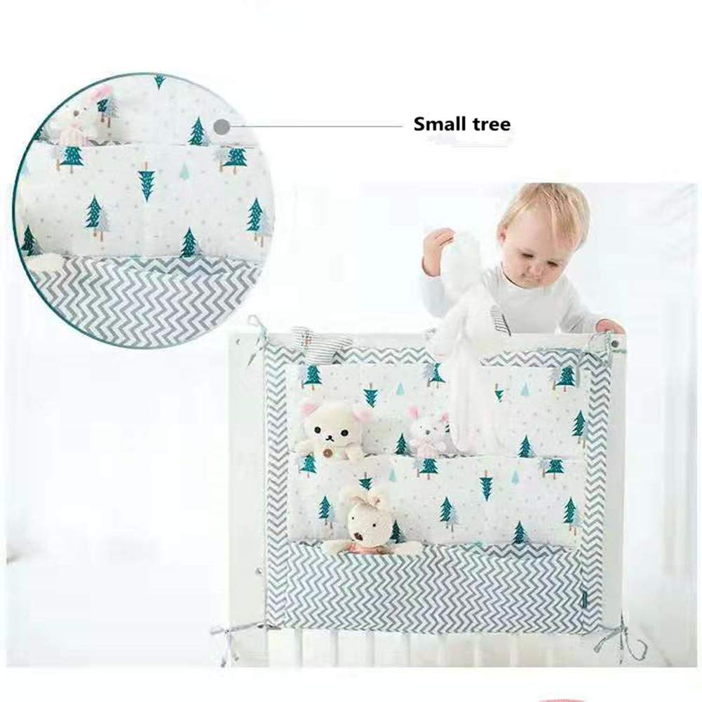 Pink Cactus Stangent Baby Nursery Crib Cot Hanging Organizer for Clothing Diapers Toys Storage Bags 3 Layers 9 Pockets Bed Hanging Cotton Cartoon Diaper Stacker