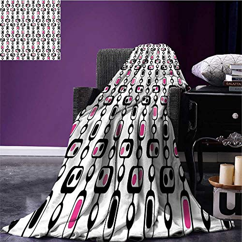 Geometric Throw Blanket Retro Inspirations in Abstract Shapes Polka Dots Squares and Lines 60s Warm Blanket Hot Pink White Black Bed or Couch 60