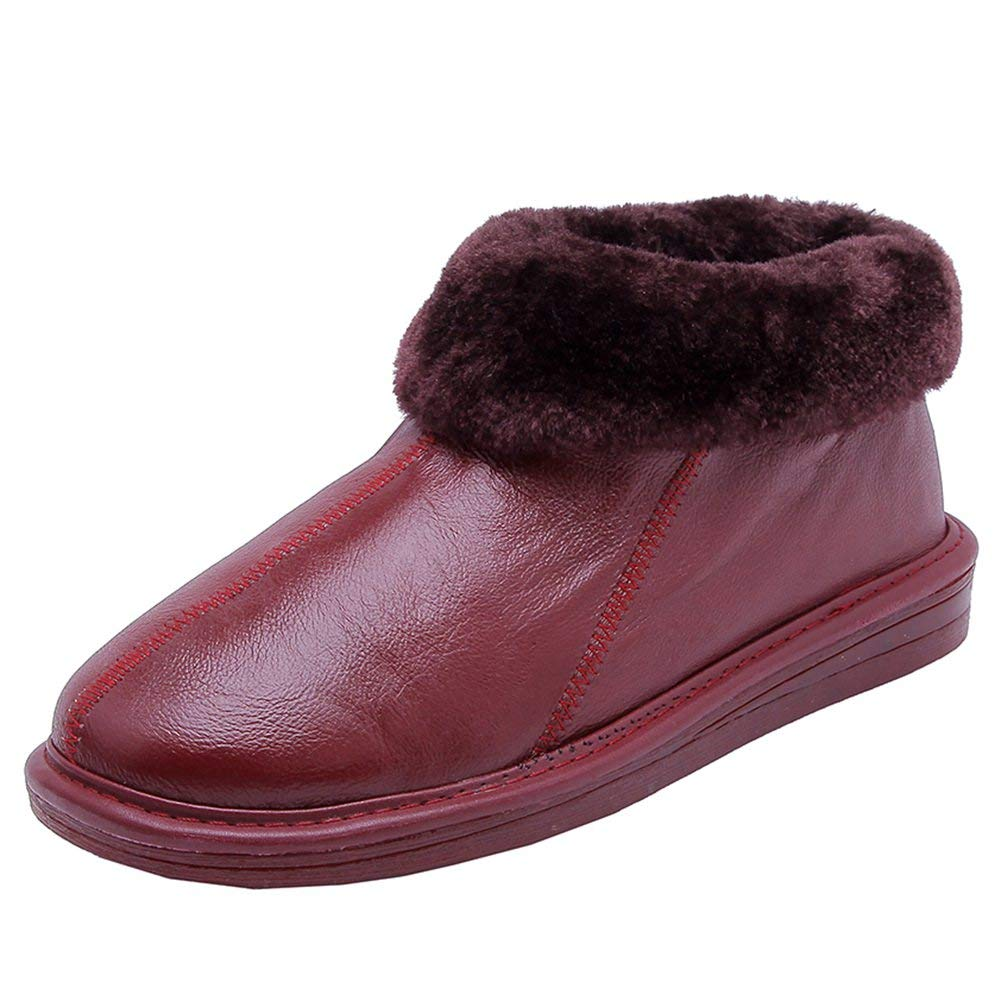 SaraIris Winter Warm Anti-Slip Bedroom Faux Leather Cozy Plush Lined Indoor Slipper Shoes