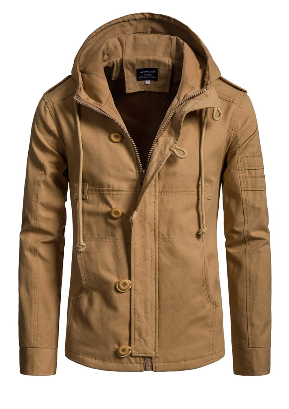 Hakjay Mens Casual Military Jackets Fall Tactical Coats Zip Up Hoodie Khaki by Hakjay