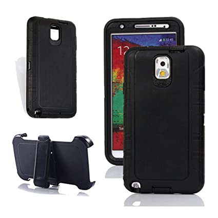 Note 3 Holster Case, Harsel Heavy Duty Tough Rugged Defender Armor Scratch Resistant Full Body Protective Military Grade w Belt Clip Built-in Screen ...