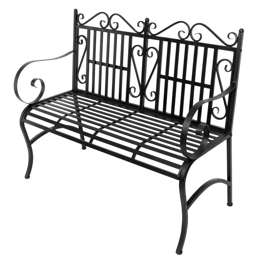 Gonikm 2-Seater Foldable Outdoor Patio Garden Bench Porch Chair Seat with Steel Frame Solid Construction