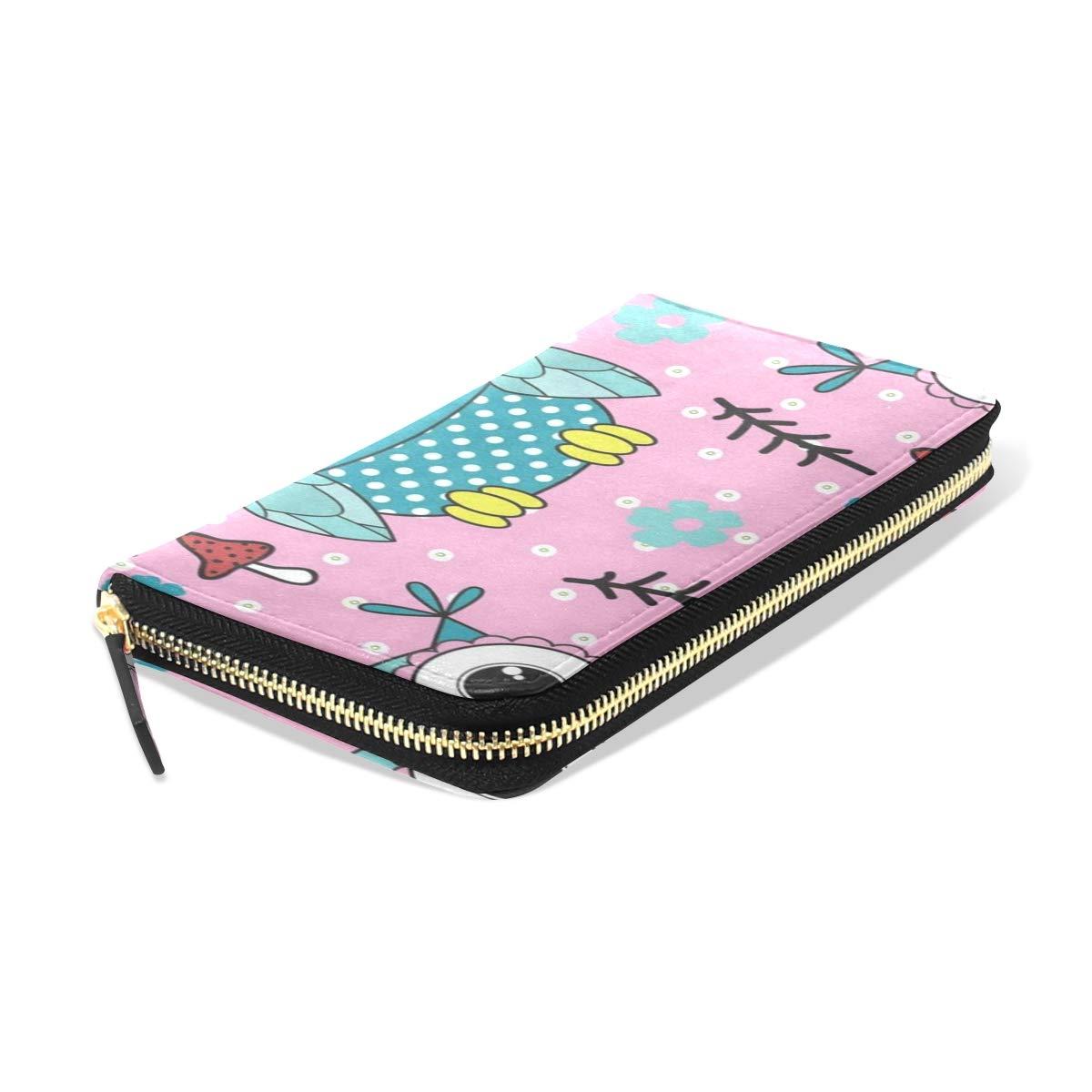 Womens Wallets Cartoon Owl Mushroom Floral Print Leather Passport Wallet Coin Purse Girls Handbags