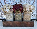 country kitchen table and hutch Mason Canning JARS in Wood Antique RED Tray Centerpiece with 3 Ball Pint Jar - Kitchen Table Decor - Distressed Rustic - Hydrangea Flowers (Optional) - THISTLE, PEWTER, COFFEE Painted Jars (Pictured)