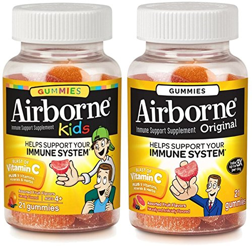 Airborne Adult & Kids Assorted Fruit Flavored Gummies Value Pack-Immune Support Supplement with 1000 mg of Vitamin C, Vitamin E, Echinacea & Selenium, 21 Count (1 Each)