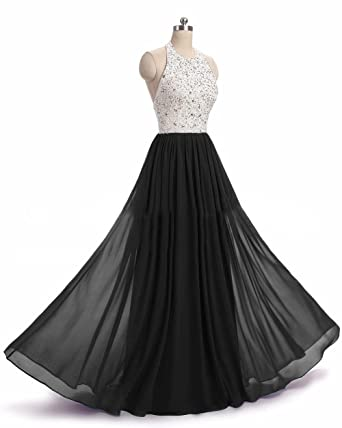 Womens Halter Prom Dresses Beaded Chiffon Long Evening Formal Gowns 2018 Black,2