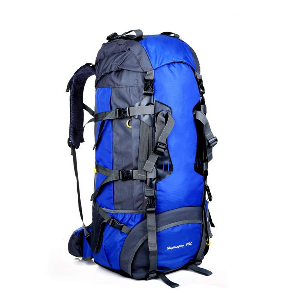 JBHURF Große Kapazität 80L Outdoor-Bergsteigen Tasche professionelles Tragesystem Gelb (Farbe : Blau)