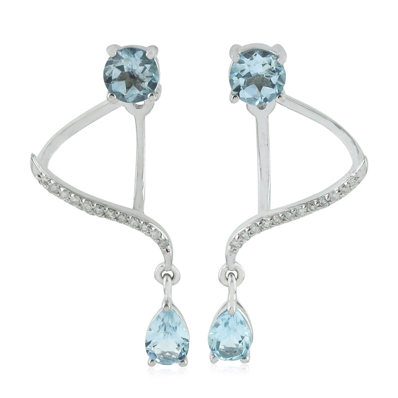 14K White Gold and Blue Topaz Diamond Ear Jacket Jewelry