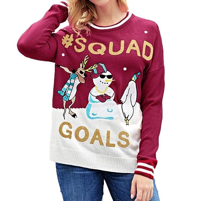 Suéter Jersey Mujeres Mujer, LANSKIRT Mujeres Carta de Navidad Estampado de Caracteres Personaje de Muñeco de Nieve Blusa Sudadera Tops Jerséis Pullover ...