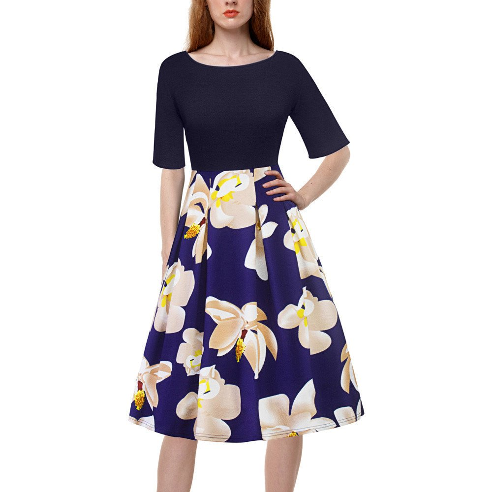 【MOHOLL】 Women's Vintage Patchwork Pockets Puffy Swing Casual Party Dress Navy