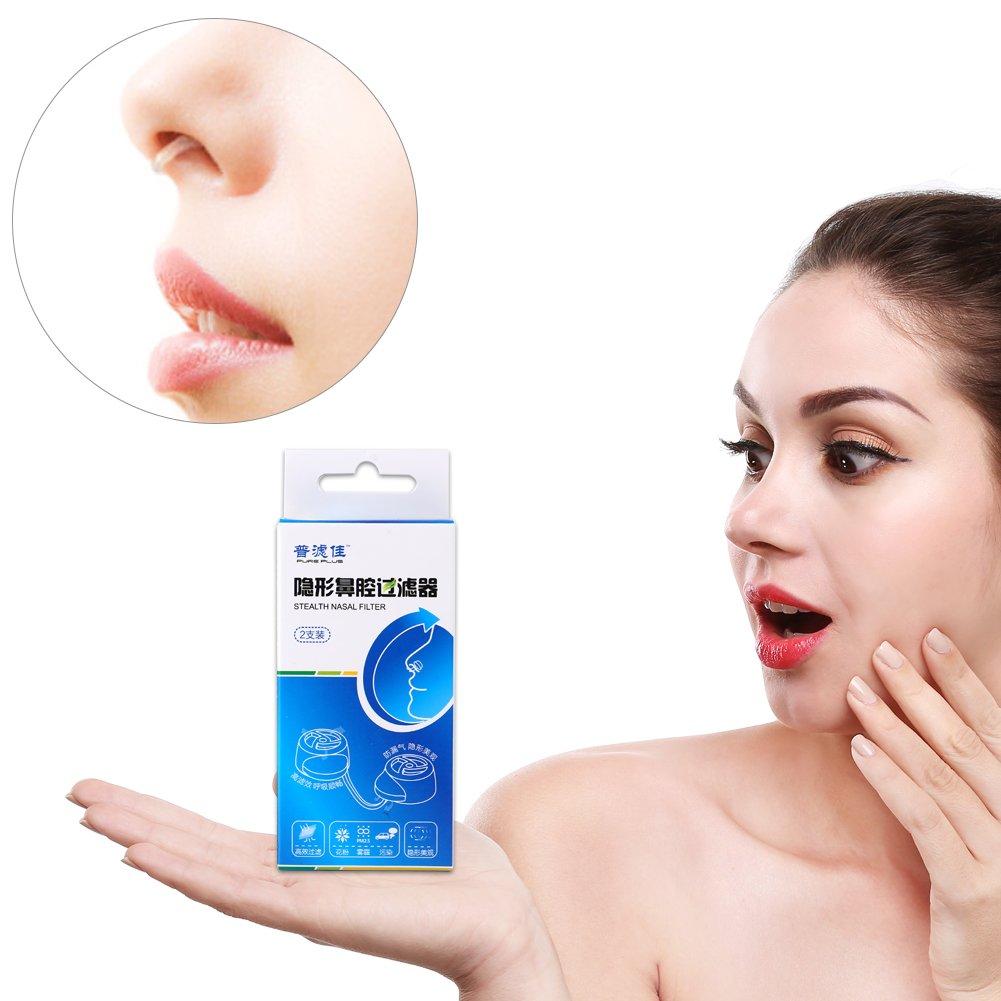 Nuevos filtros nasales invisibles Sú per defensa Contaminació n del aire Nariz Polen Allergy Alivio Má scara de polvo(+ 17 filtros de repuesto) Brrnoo