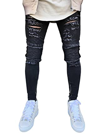 642c65d9996 Sarriben Men's Extreme Skinny Fit Ripped Distressed Black Zipped Biker Jeans  at Amazon Men's Clothing store: