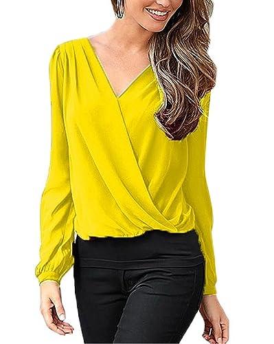 Minetom Mujeres Blusas Con Manga Larga V Cuello La Gasa Encaje Camisa Blouses Pullover Tunica OL Sólido Color T Shirt