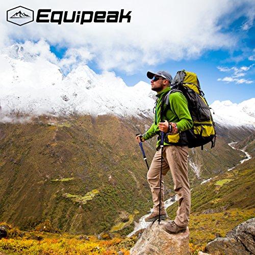 Review Equipeak Collapsible Folding Hiking & Trekking Sticks – 2 Aluminum Walking Poles with real Cork & EVA Handle Grip SET – Ultra Strong Locking – For Men & Women (Blue, L (5'9″ – 6'5″))