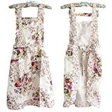 Stylish Flower Pattern Women's Fashion Floral Cotton Chef Cooking Cook Apron Bib with Pockets 17#