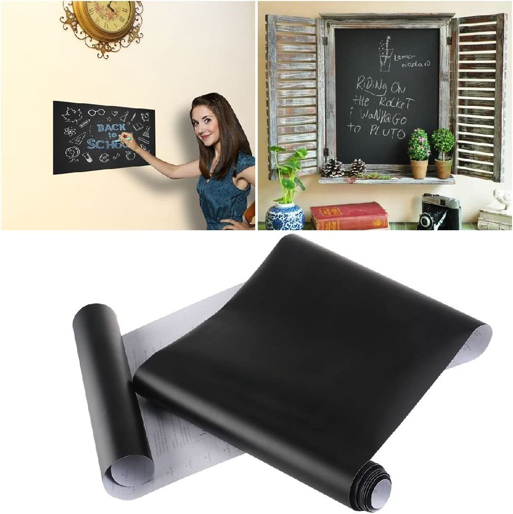 ESSAOAT Home Decor 2Pcs Extra Large Chalkboard Decal Wall Sticker Blackboard Contact Paper Black