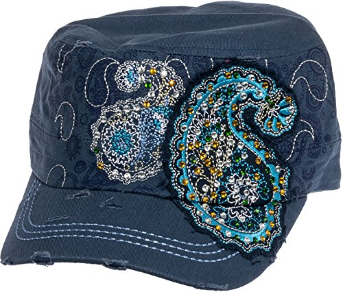 Crystal Case Womens Cotton Rhinestone Paisley Cadet Cap Hat (Denim Blue)