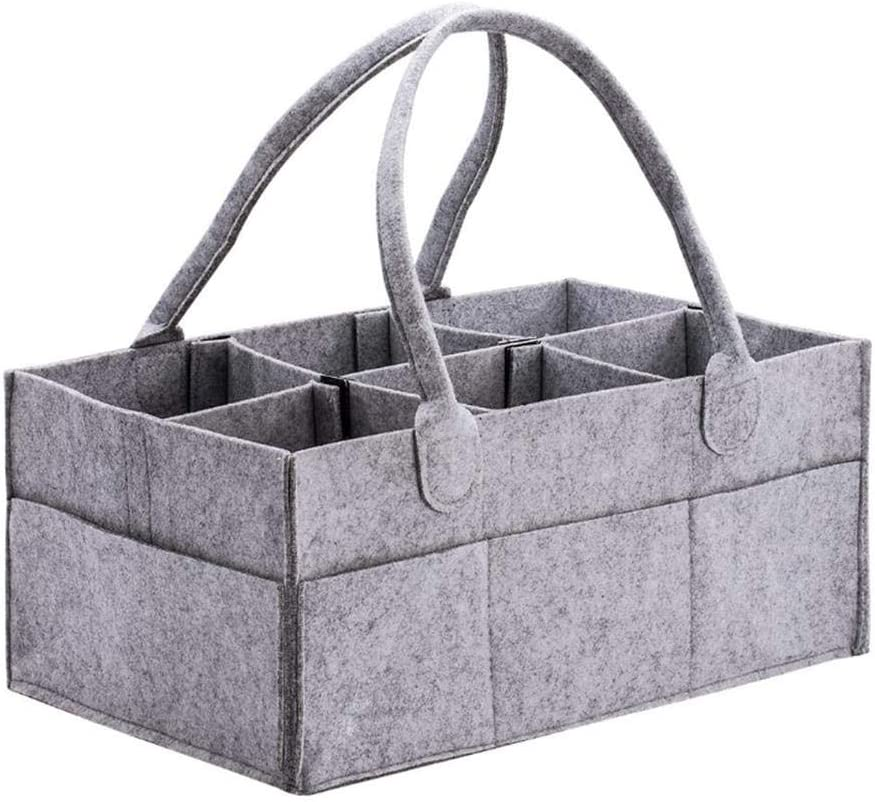 Baby Wipes Bag Akaddy Baby Diaper Organizer Grey Felt Baby Diaper Storage Bag Multi-slots Clothes Basket Organizer Nursery Storage Bin Basket with Changeable Compartments
