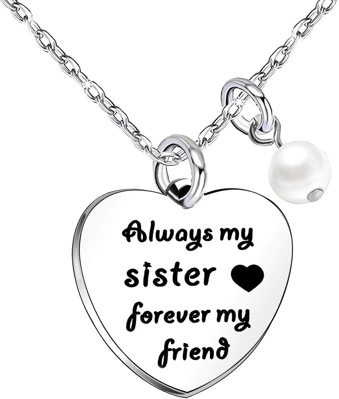 Sister Gifts - Collar de perlas para mujer y niña, regalo de cumpleaños de larga distancia, regalo de Navidad, siempre mi hermana para siempre amiga