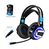 PHOINKAS H-4 Gaming Headset with Mic LED Light for