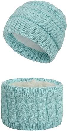 Set de Bufanda y de Gorro para Bebé Niña Niño Invierno Cálido Sombrero y Beanie Bufanda de Punto Pañuelos para el Cuello Unisex para Infantile 0-3 años
