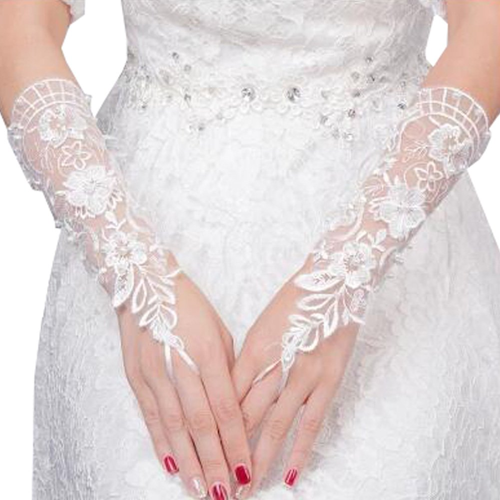 Elegant Lady Formal Banquet Party Bride Pierced Lace Wedding Gloves Bridal Gloves, NO.34