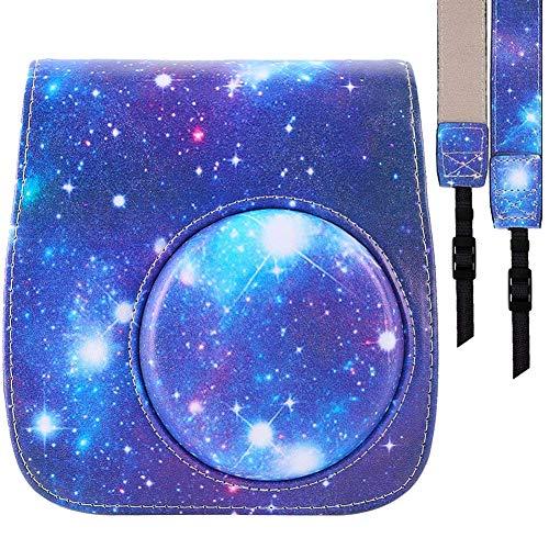 SAIKA Protective Case Compatible Fujifilm Instax Mini 8 Mini 8+ Mini 9 Instant Camera - Premium PU Leather Bag with Removable Strap [Galaxy]