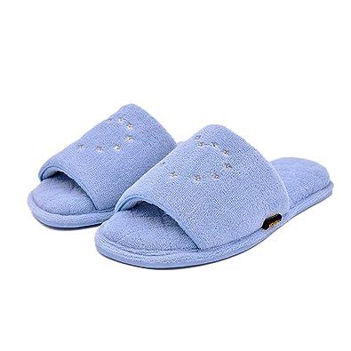 83c9255fefcc4 Newina Women s Soft Memory Foam Indoor Outdoor Open Toe Slippers  Embroidered Coral Velvet Slip On Home