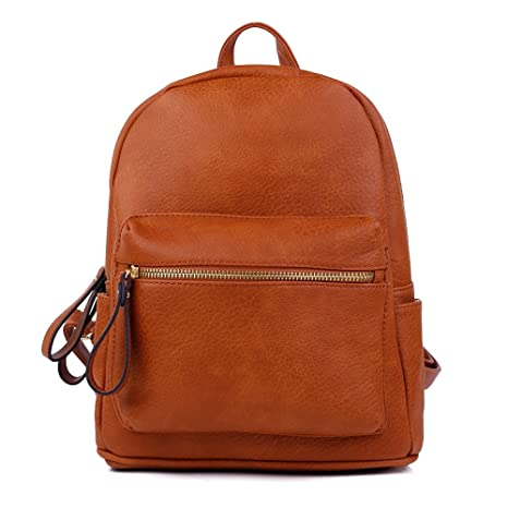 Image Unavailable. Image not available for. Color  Women Backpack Purse PU  Leather Simple Design Casual Daypack Fashion School Backpack for Girls Brown 6ac55756a6718