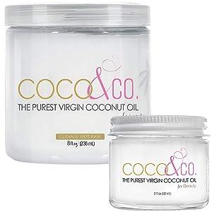 COCO & CO. Organic Pure Extra Virgin Coconut Oil for Hair & Skin, Beauty Grade - Mini Jar, 2oz (8oz + 2oz Travel Combo)