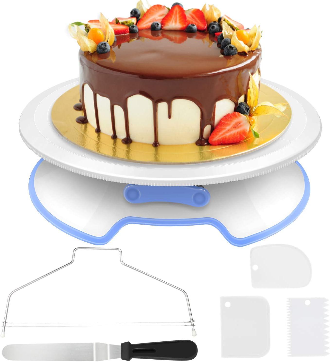 AimTop Decoración de Pasteles, Torta Giratoria con Herramienta de Pastelería, Cortador, Espátula de Formación de Hielo, Scrappers de Pastel, Soporte de Torta Giratorio de Placa de Pastel