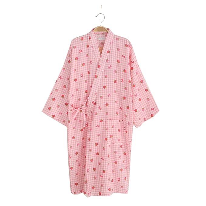 Vestido de Kimono Mujer Yukata Albornoz Pijamas-Fresa