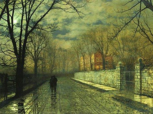 - Doppelganger33 Ltd John Atkinson Grimshaw Paintings Figures Moonlit Lane Rain Canvas Art Print