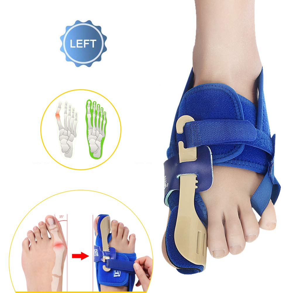 PXQ Big Toe Straighteners Three-Dimensional Bunion Corrector Unisex Bunion Relief Splints Night Time Toe Separators for Hallux Valgus Foot Treat and Prevent,Blue,LeftL