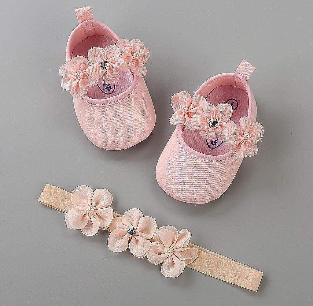 Jimmackey 2 Pezzi Neonata Scarpe Bambino Fiore Scarpe Anti Scivolo Morbido Occasioni Speciali Battesimo per la Festa Nuziale Scarpe Fascia