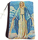 Miraculous Mary Our Lady of Grace Tapestry Rosary Case with Zipper 5 Inch Pouch Boxed
