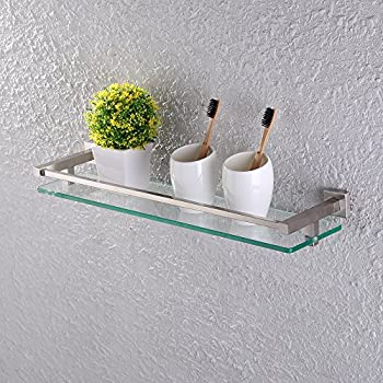 Amazoncom Organize It All Wall Mounting Glass Shelf with Nickle