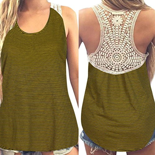 Gillberry Women Summer Lace Vest Top Short Sleeve Blouse Casual Tank Top T-Shirt (Yellow, L)