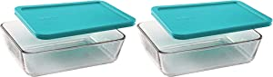 Pyrex Basics Clear Glass Food Storage Dishes, 2 (6-Cup) Oblong Dishes with Turquoise Plastic Lids