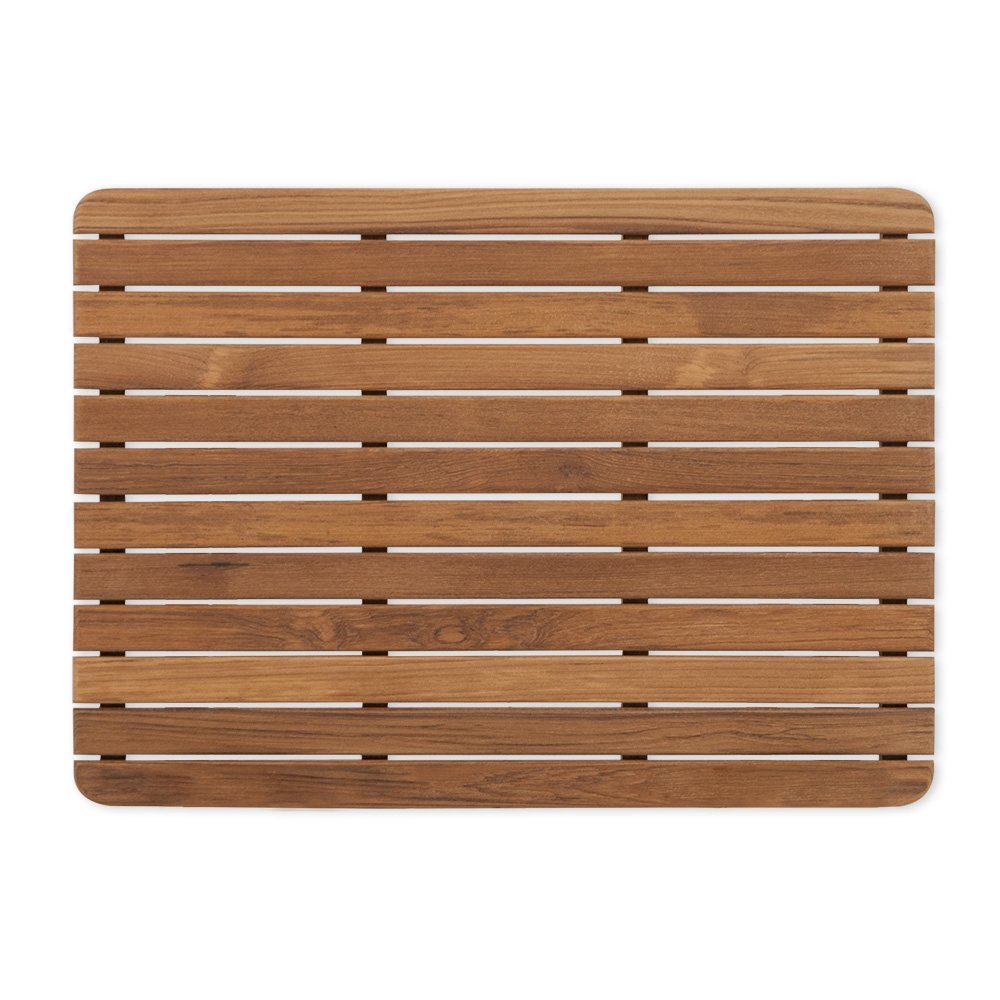 Teak Shower/Bath Mat with Rounded Corners (25'' x 18'')