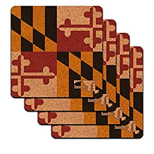 Maryland MD Home State Low Profile Cork Coaster Set - Flag