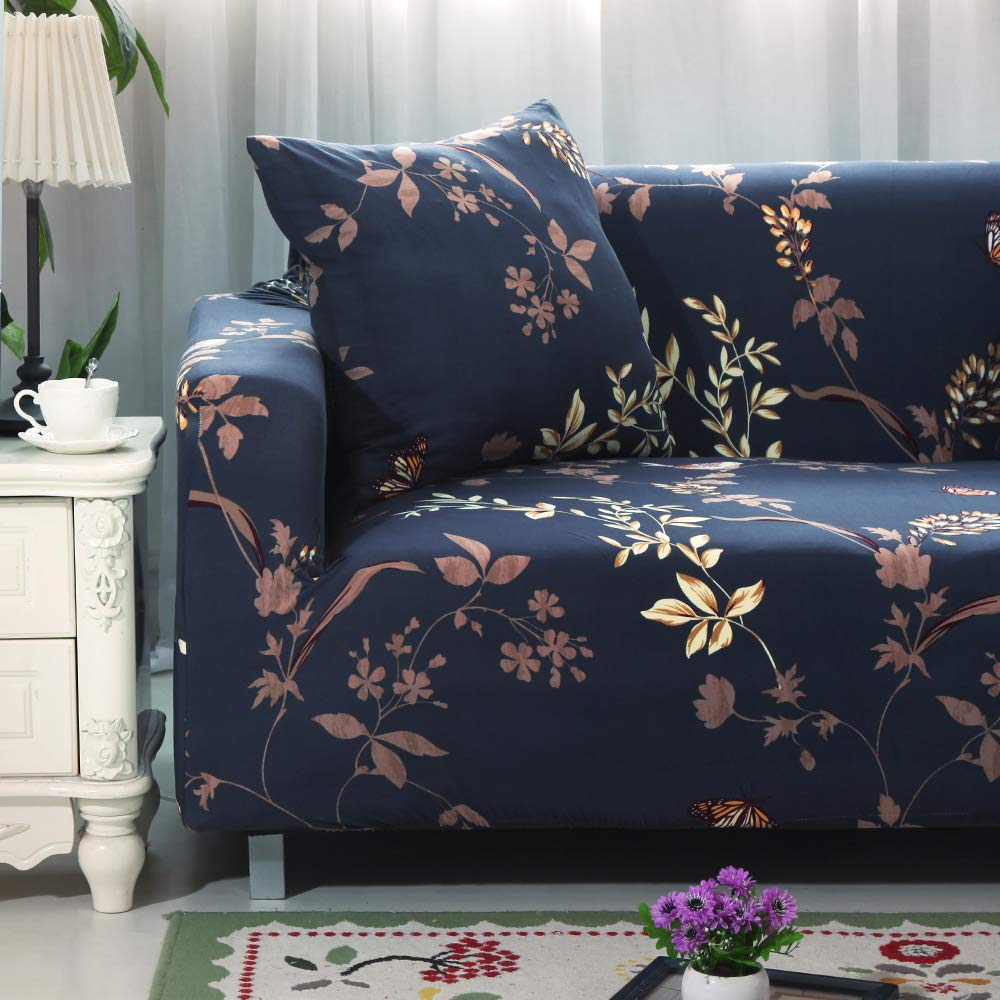 Sofa 3 Seater,Feather Qord Stretch Sofa Covers,3 Cushion Couch Sofa Slipcovers with Elastic Bottom,Slip Resistant Furniture Protector