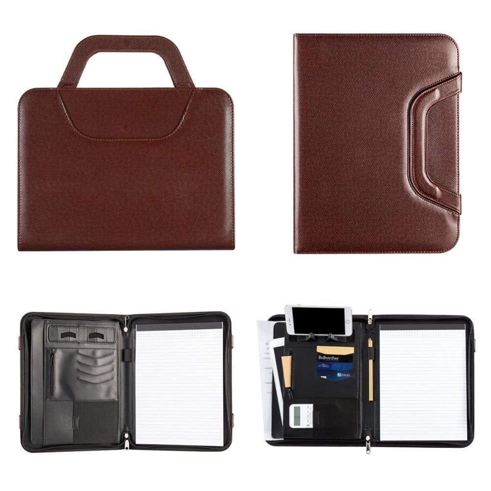 GO-AHEAD,Portacuadernos A4 PU Gerente de la Oficina de Piel Padfolio Documento Archivo de Carpetas Carpeta Padfolio Notebook manija de la Cremallera Color : Brown