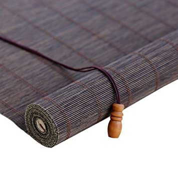 Persiana Enrollable de bambú Roll Up Persianas De Ventana con Cenefa, Cortina Retro De La