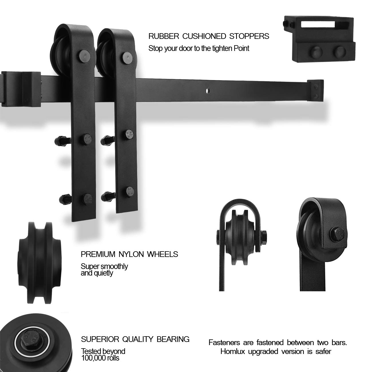 YIGOLD 6.6ft Heavy Duty Sturdy Sliding Barn Door Hardware Kit Factory Outlet Carbon Steel- Ultra Smoothly and Quietly Design-Easy Installation-Fit 35\