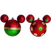 Jogo de Bolas de Natal Mickey Mouse, Verde/Dourado, 6 Bolas de 6cm, Cromus