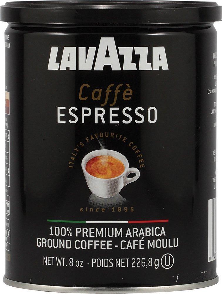 Lavazza Caffe Espresso Ground Coffee, Medium Roast 8 oz Cans Full Case of 12