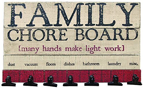 """CWI Gifts 9.5"""" X 16""""x 9.5"""" Wooden Family Chore Board with Clips"""