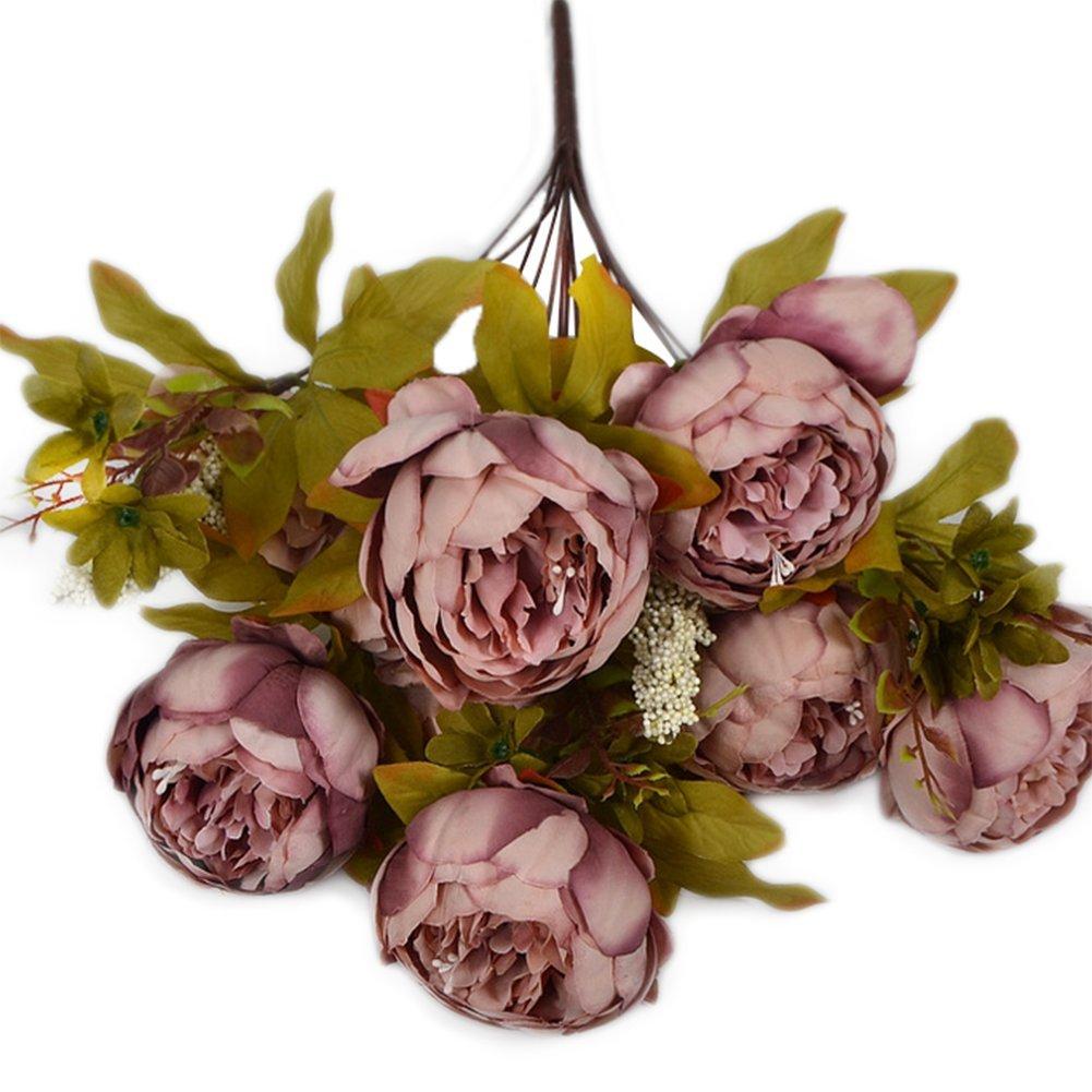 Outflower ein Strauß von 13 Zweige Künstliche Pfingstrose Home Dekoration Shooting Requisiten, weiß, Cameo Brown, 50*11.5*8cm weiß